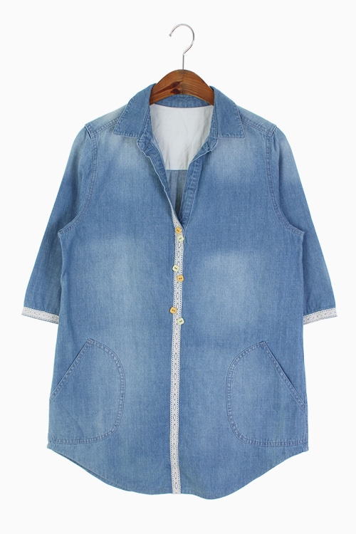LACE TRIM DENIM SHIRT DRESS 리가먼트
