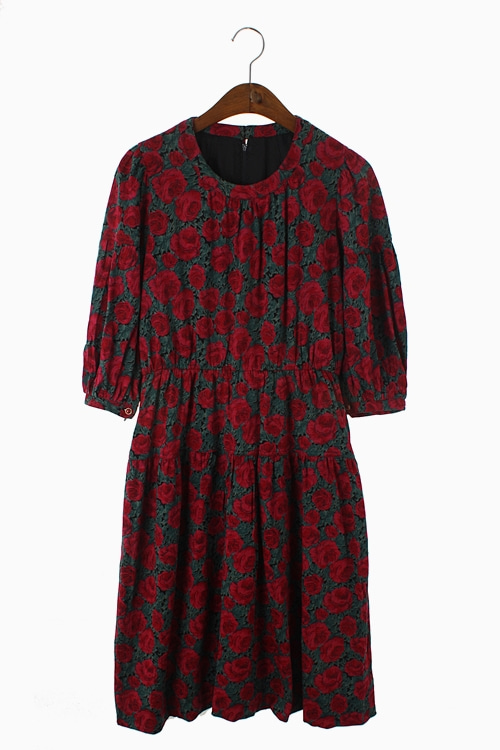 RETRO FLORAL PURE WOOL DRESS 리가먼트