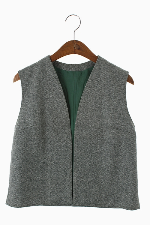 TWEED WOOL OPEN VEST 리가먼트