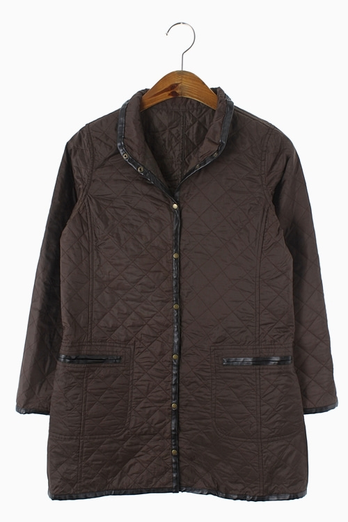 LEATHER TRIM POLY QUILY JACKET 리가먼트