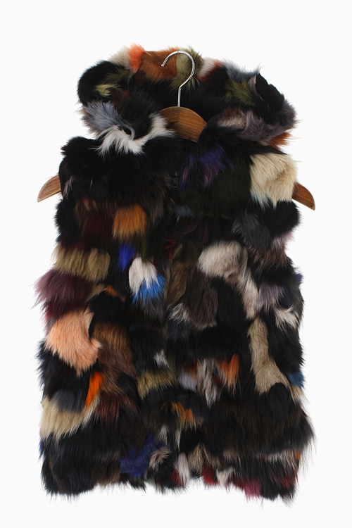 RABBIT FUR HOODY VEST 리가먼트