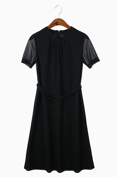 BLACK POLY JERSEY DRESS 리가먼트