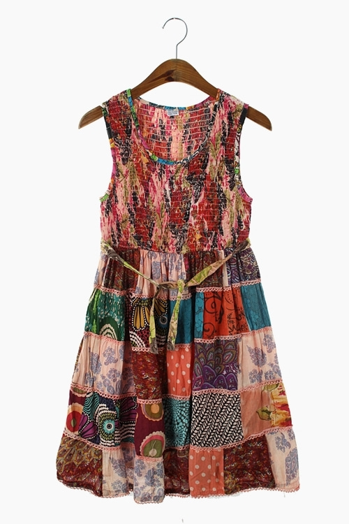 ETHNIC COTTON PATCHWORK DRESS 리가먼트