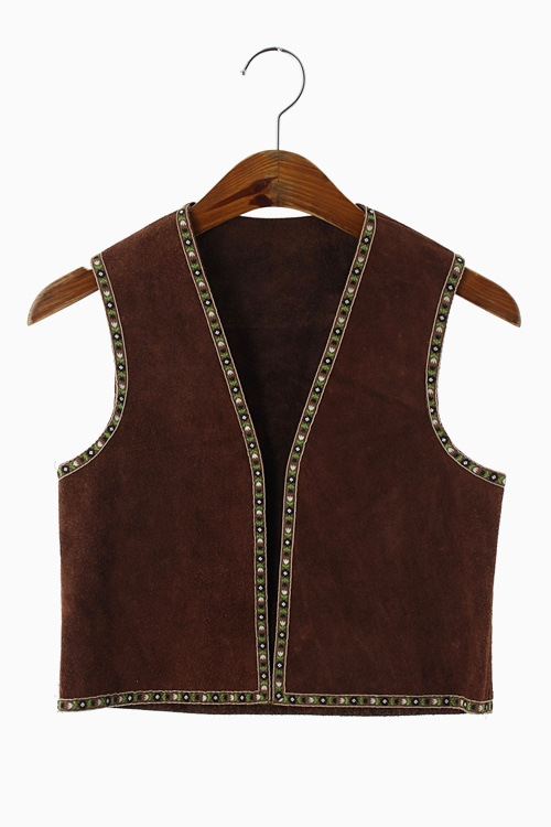 EMBROIDERY TRIM LEATHER VEST 리가먼트