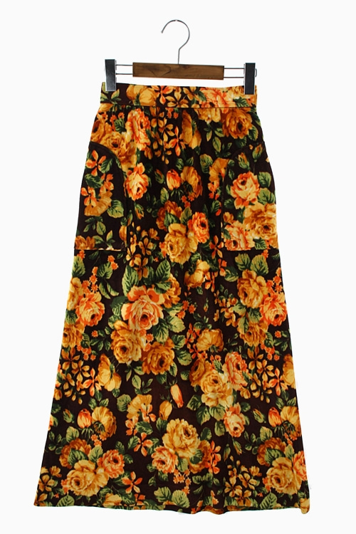 FLORAL COTTON VELVET SKIRT 리가먼트